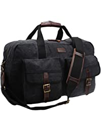 "Iblue Canvas Weekend Carry On Leather Travel Overnight Bag With Pocket 17.7 "" B31"