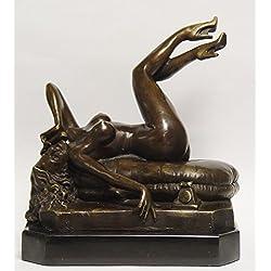 Bronzefigur Skulptur Motiv: Frau liegend am telefonieren auf Marmorsockel Akt bronze Höhe 23 cm 5,4 kg