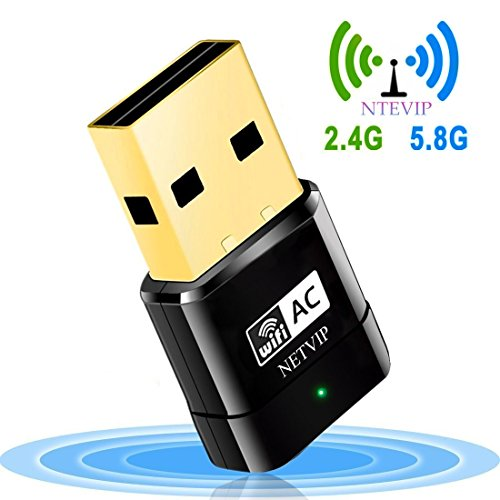 Adattatore wifi usb 600mbps,netvip dual band(5g/433mbps + 2.4g/150mbps) dongle wifi ethernet ieee 802.11ac/n/g/b supporta con usb 2.0 per laptop, pc compatibile con window xp / 7/ 8 /8.1/10/ vista (32/64bits) / mac os, linux