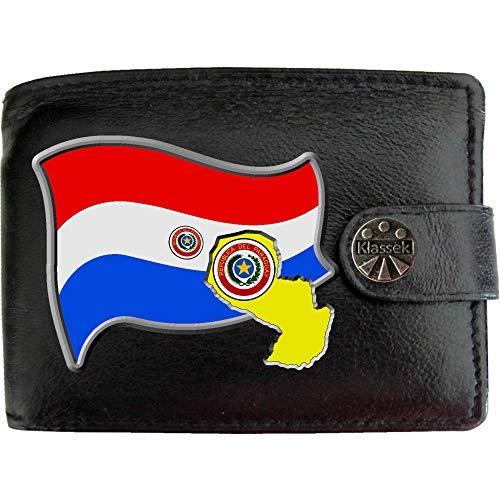 Paraguay Flag Paraguayischen Flagge Karte Wappen Bild auf KLASSEK Marken Herren Geldbörse Portemonnaie Echtes Leder RFID Schutz mit Münzfach Zubehör Geschenk mit Metall Box