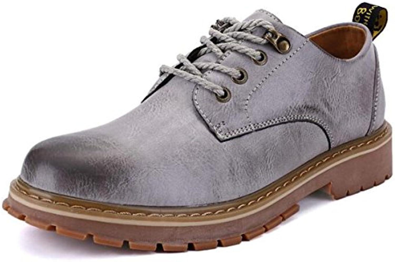 ZHONGST Botas Martin Boots Low Boots para Hombre Botas Altas Botas, Gray, 40