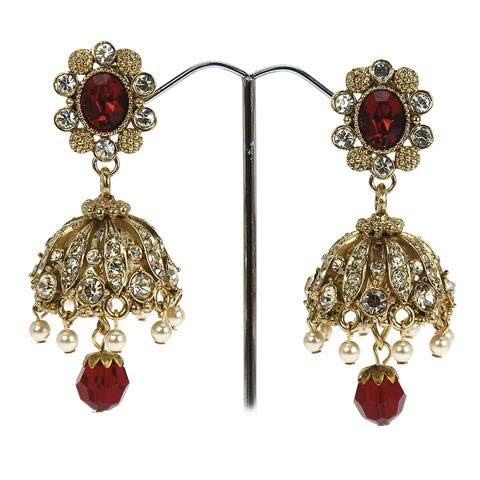 Jhumki-Ohrringe im indischen Stil, besetzt mit Swarovski-Kristallen, Jhumka-Ohrringe