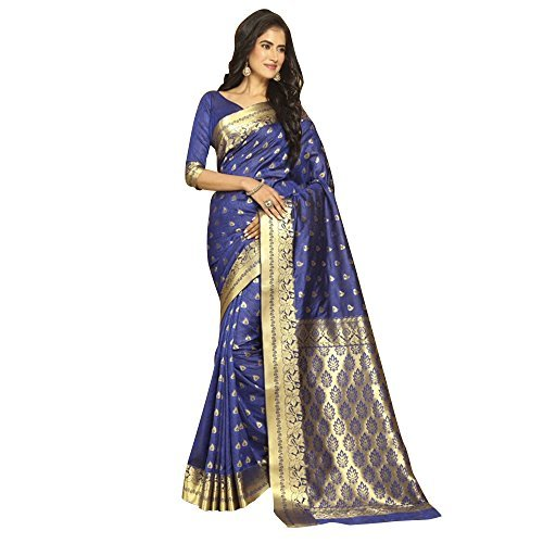Craftsvilla Women's Bangalore Silk Zari work Blue Saree with unstitched Blouse piece