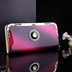 CALISTOUS Elegant Lady Women Clutch Long Purse Leather Wallet Card Holder Red