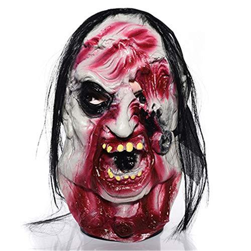 Kostüm Mad Stück 3 - JIAENY Halloween Latex Maske Scary Ghost Maske Cosplay Halloween Kostüme Party Cosplay Realistische Requisiten Horror Dekoration Haarmaske