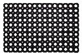 Andiamo Gummi-Ringmatte / Wabenmatte offene Ringe Schmutzfangmatte antirutsch Fußabtreter Gummimatte, Weichkautschuk, schwarz, 40 x 60 x 0,5 cm