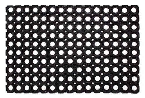 Andiamo Gummi-Ringmatte / Wabenmatte offene Ringe Schmutzfangmatte antirutsch Fußabtreter Gummimatte, Weichkautschuk, schwarz, 60 x 80 x 0,5 cm