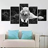 WANGIRL Moderner Unbedeutender des Hauses 5 Satz Dekorative Malerei des Tierischen Weißen Wolfs Tintenstrahlwohnzimmer-Schlafzimmermalerei,C