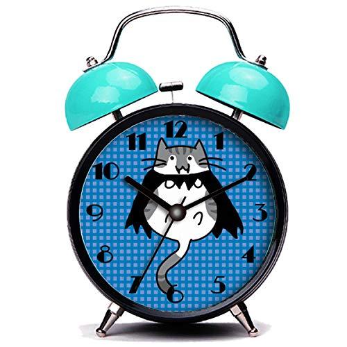 girlsight Blauer Wecker, Nette Katze Süße Halloween Katze Vampir Kostüm Twin Bell Wecker mit Nachtlicht (Twin-halloween-kostüme Für Kinder)