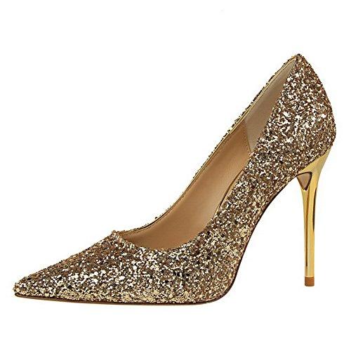 Pumps Absatz Golden Schuhe Mittler Auf Rein Mit Ziehen Spitz Zehe Damen Paillette Aalardom wxCq8p