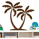 Vinilo decorativo de palmeras. Color marrón. Medidas: 80x70cm