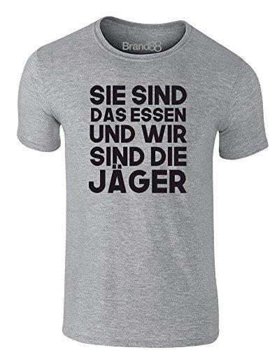 Brand88 - We Are The Hunters, Erwachsene Gedrucktes T-Shirt Grau/Schwarz