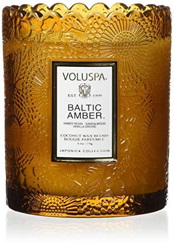 Voluspa Scalloped Glass Votive Candle in Baltic Amber -