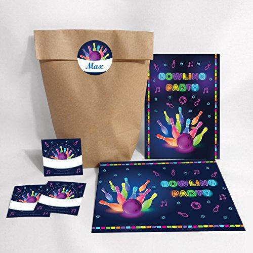 12-er Set Einladungskarten, Umschläge, Tüten, Aufkleber zum Kindergeburtstag Bowling für Mädchen und Jungen / Erwachsene / Bunte Einladungen zum Geburtstag / Geburtstagseinladungen