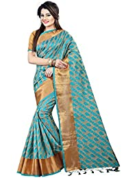 Silk Zone Women's Green Tassar Silk Saree With Blouse Piece (SZM00136_Green_Biege_Free Size)