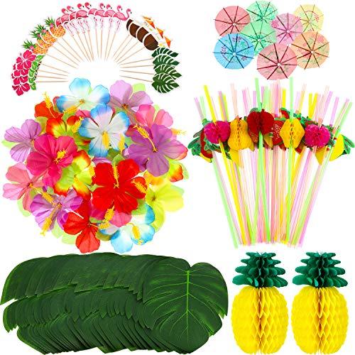 198 Stücke Hawaiian Party Dekoration Set 2 Seiden Papier Ananas 24 Tropische Palmblätter 24 Hibiskus Blumen 48 Flamingo Cupcake Topper 50 Bunte Sonnen Schirme und 50 3D Obststrohe - Papier Hibiskus-blumen