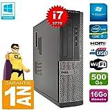 Dell PC 3010 DT Core I7-3770 Ram 16Go Disque 500 Go Graveur DVD WiFi W7 (Reconditionné Certifié Grade A)