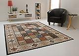 Perser Teppich Design Orientalisch Levante Ghoum Felder Creme Beige, Ökotex Zertifiziert, Größe: 80x150 cm