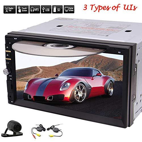 EINCAR drahtlose Unterstützungskamera + Universal Car kapazitive Touch Screen Doppel-DIN-In-Schlag Auto-Stereoanlage mit Touch Screen & Free Backup-Kamera-Unterstützung 1080P Video Subwoofer FM A
