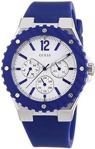 Guess W90084L3 - Reloj analógico de cuarzo para mujer con correa de silicona, color azul de Guess