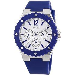 W90084L3 Guess Women's Watch Analogue Quartz White Dial Black Silicone Strap (Blue)