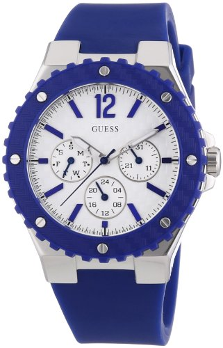 W90084L3 Guess Women's Watch Analogue Quartz White Dial Black Silicone Strap (Blue)