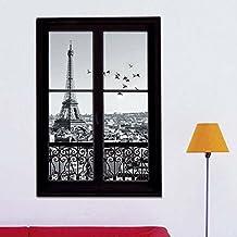 zooarts 3d ventana Torre Eiffel de París ciudad extraíble pegatinas de pared Arte decoración adhesivos para niños habitación vinilo Mural