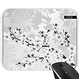 DesignedByIndependentArtists Mousepad - Elegantes Graues Silber Blumen by Nina Baydur
