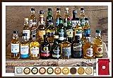 Adventskalender 24 verschiedene Premium Whisky Miniaturen je 50ml mit 24 Edel Schokoladen (inkl. 2 Meersalztaler) Confiserie DreiMeister & Daja & 24 rote Satinbeutel kostenloser Versand
