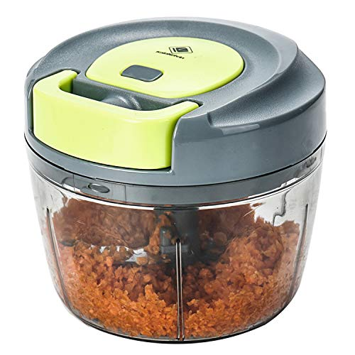 Kalokelvin Nahrungsmittelzerhacker Manueller Chopper zum Hacken von Obst, Fleisch, Nüssen, Kräutern, Zwiebeln, Gemüse Mixer Processor (750ML)