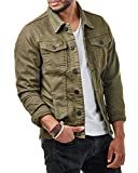 EightyFive Herren Denim Jeans Jacke Basic Zipper Slim Fit Khaki Beige EF3132, Größe:M, Farbe:Khaki