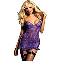 Ricamo Set Lady Sexy Lingerie Perspective Stampa Lure Underwear,Fami (viola, 6XL)