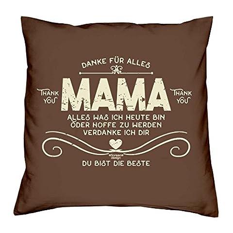 Dekokissen als Geburtstagsgeschenk Muttertagsgeschenk Valentinstagsgeschenk :-: Sofakissen Kissen mit Füllung 40x40 cm :-: Danke Mama :-: Geschenkidee Mutter Eltern Farbe: braun
