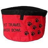 Sijueam, ciotola porta cibo e acqua da viaggio pieghevole e impermeabile; per animali domestici; per lavastoviglie, facile da lavare, Type 1-Red