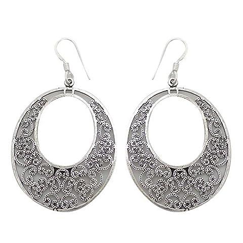 Banithani 925 Sterling Silver Dangle Earring Hoop Style Indian Fashion Jewellery