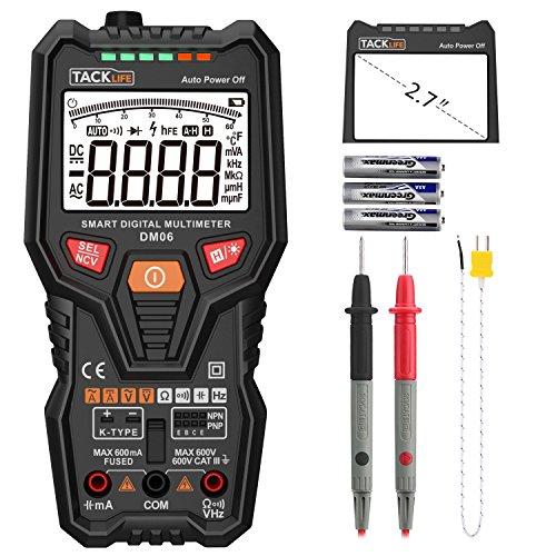 Tacklife DM06 Premium DigitalMultimeter Vollautomatisches Multimeter mit 6000 Counts Spannungsmesser, Stromprüfer, Temperatur, Widerstand,Kapazität, Frequenz, Durchgang, Transistoren mit großem hintergrundbeleuchten LCD