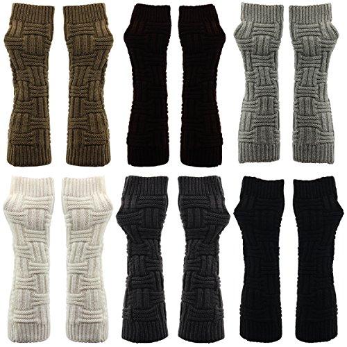 Latinaric Femmes Hiver Chaud Gants En Tricot Mode Bras Mitaines Demi-doigts Gants Noir
