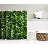 "A.Monamour Plantas Verdes Tropicales Hojas Bosque Jardín Paisaje Verano Tema Imagen Impresión Impermeable Ecológico Tela Poliéster Ducha Cortina Para Baño 150X180 Cm / 60 ""X72"""