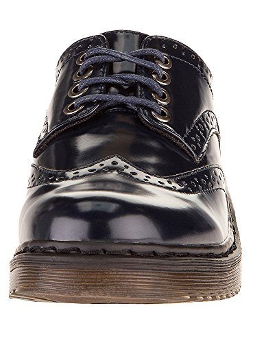 oodji Collection Femme Chaussures Oxford en Simili Cuir Noir (2900N)