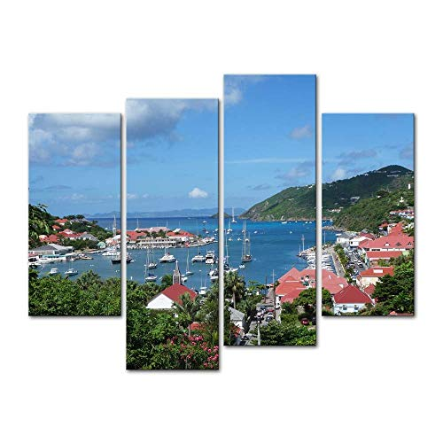 Wall Art Decor Poster Malerei Auf Leinwand Drucken Bilder 4 Stücke Gustavia Harbour, St. Barths, Französisch Westindische Inseln Karibik Platz am Meer Gerahmtes Bild für Heimtextilien Wohnzimmer
