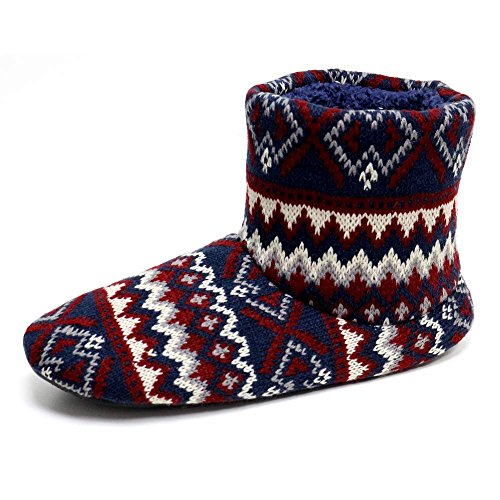 Men's Dunlop 'BOBBY' Nordic Bootee Slippers Navy Fairisle Knitted uppers (Large 11-12...