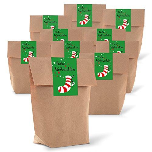 25 braune Geschenktüten zu Weihnachten mit Boden 14 x 22 x 5,6 cm Kraft-Papier-Tüten + 25 Weihnachts-Aufkleber Sticker FROHE WEIHNACHTEN Nikolaus-Strumpf grün rot Verpackung Geschenke give-away Kunden