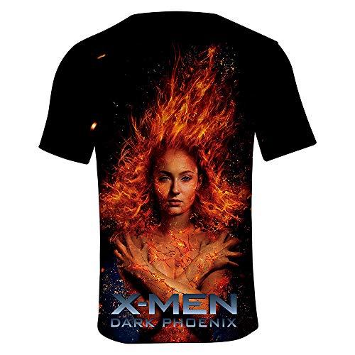 SUNCHTX Unisex para Hombre De Manga Corta De Hombre Blusas De Verano Slim Fit Running Camiseta 3D X-Men Dark Phoenix XS
