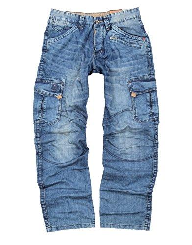 "Timezone Herren Cargo Jeans Benito ""3756 Blue Marble Wash"" (W34/L32)"