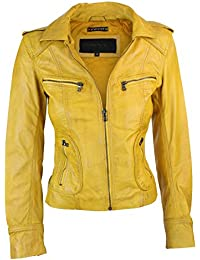 Ladies Real Leather Yellow Biker Style Fashion Jacket Size UK 6-18
