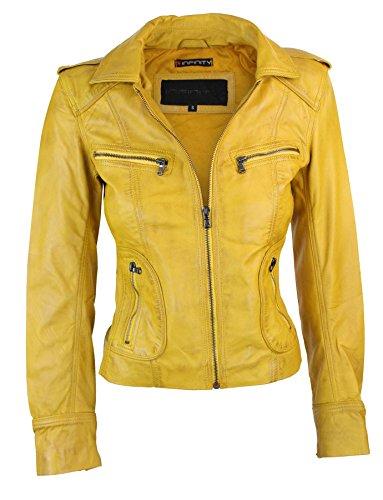 Damenjacke 100% Echtleder Gelb Biker Stil Rabatt Preis Neue Kollektion