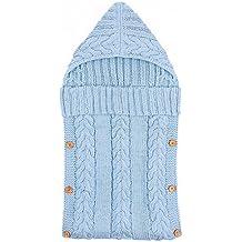 0–12meses bebé recién nacido Wrap Swaddle Manta para bebé Niños saco de dormir Saco de dormir para cochecito para bebé (lana de punto botón de sacos de apagado