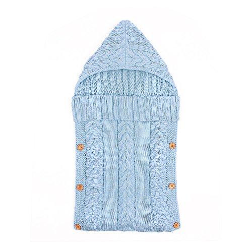 Saco de dormir para bebé recién nacido de 0–12meses, para cochecito para bebé, lana de punto, botones azul celeste