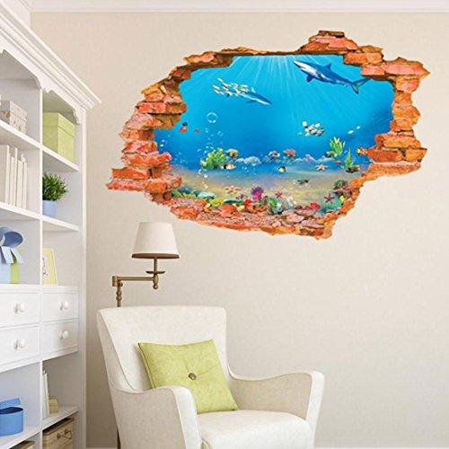 AUVS® 3D- Selbstklebende Abnehmbaren Durchbrechen Die Mauer Vinyl Wandsticker / Wandgemälde Kunst Aufkleber Dekorateur (8001I Aquarium (60*90cm))