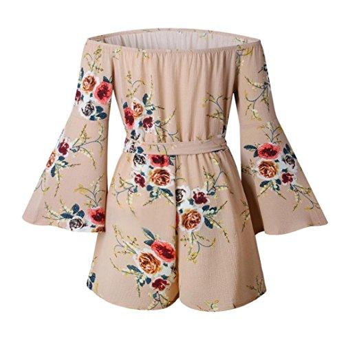 AmazingDays Chemisiers T-Shirts Tops Sweats Blouses,Femme Floral Prints Combinaison Clubwear Bodycon Combi Romper Kaki